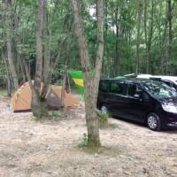 二家族で奥琵琶湖キャンプ場の林間サイトへ【コールマンのシュラフ(寝袋)を調達】